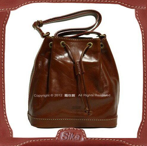 【騷包館】Sika 義大利牛皮 斜背大水桶包 M6048-02 深咖啡