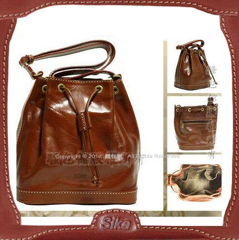 【騷包館】Sika 義大利牛皮 斜背小水桶包 M6047-01咖啡