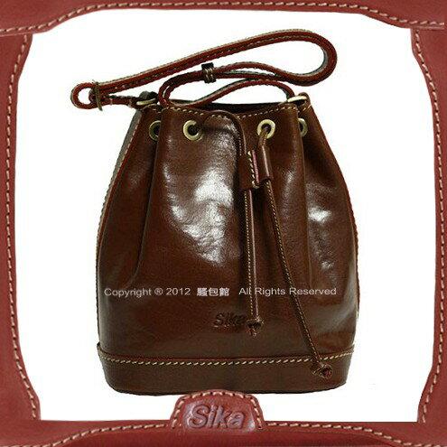 【騷包館】Sika 義大利牛皮 斜背小水桶包 M6047-02 深咖啡
