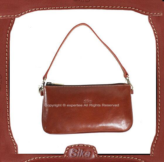 【騷包館】Sika 義大利牛皮 扁式手提兩用小包 咖啡 SK-A8229-01