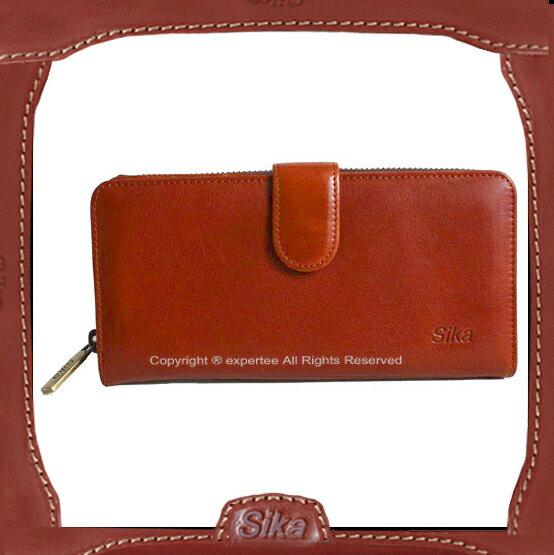 【騷包館】Sika 義大利牛皮 釦式後拉鍊包長夾 SK-A8251-01 M8251-01 咖啡