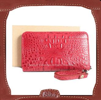 【騷包館】Sika 義大利牛皮 精品獸皮款 單層拉鏈袋手拿式長夾 紅色 S8245-04