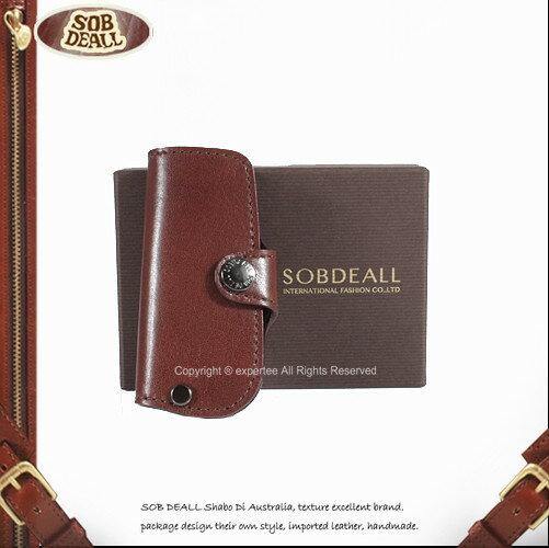 【騷包館】SOB DEALL 牛皮 釦式單鑰匙皮套 咖啡 20201004202