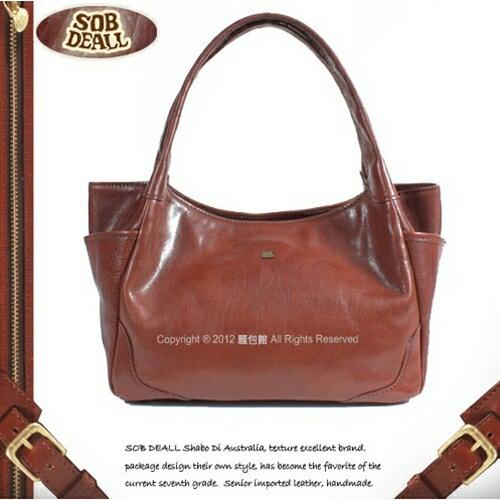【騷包館】SOB DEALL 沙伯迪澳 牛皮 口袋造型弧度手提包20701008902