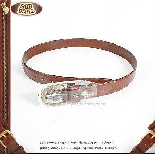 【騷包館】SOB DEALL 沙伯迪澳 牛皮 素面金扣造型皮帶 咖啡 20601002402