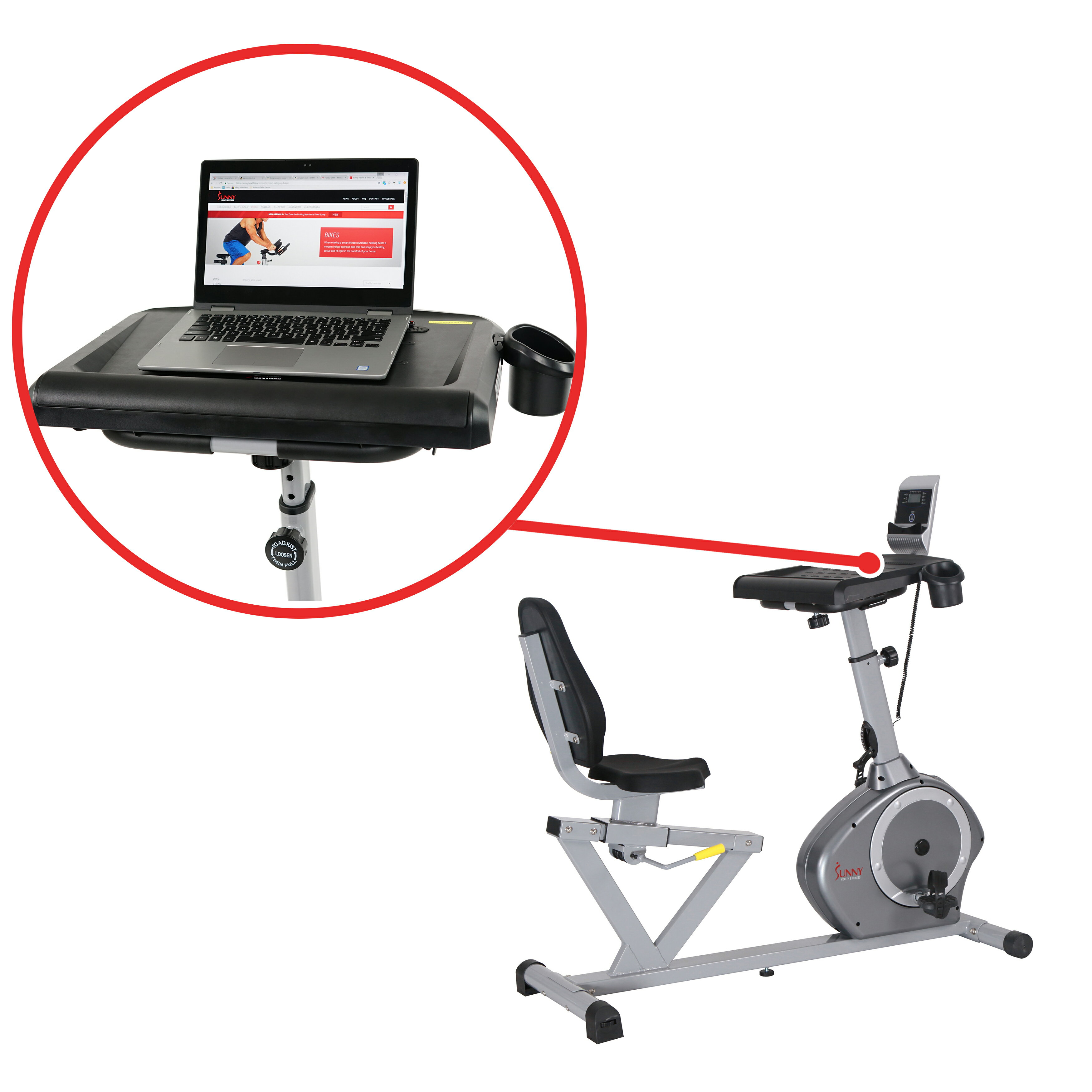 Sunny Health Fitness Magnetic Rebent Desk Exercise Bike 350lb High Weight Capacity Monitor