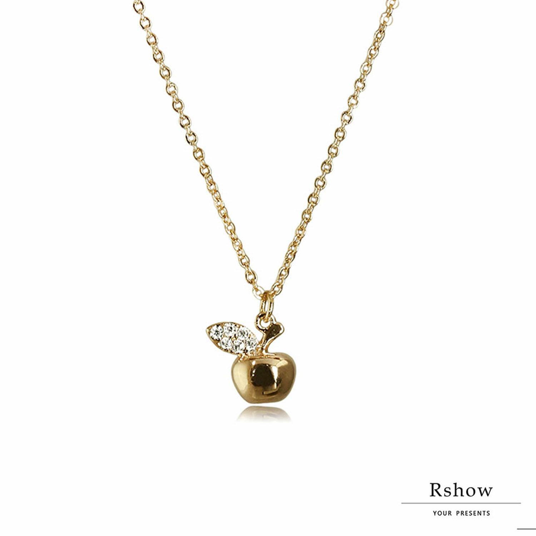 【Rshow】微鑲小蘋果 鎖骨鍊 1
