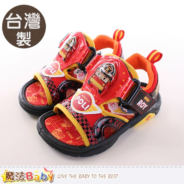 男童涼鞋 台灣製POLI正版閃燈運動涼鞋 魔法Baby~sa61102
