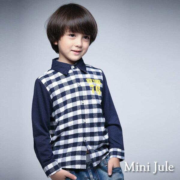 Azio Kids美國派:《MiniJule童裝》襯衫76字母格紋撞色長袖襯衫(寶藍)