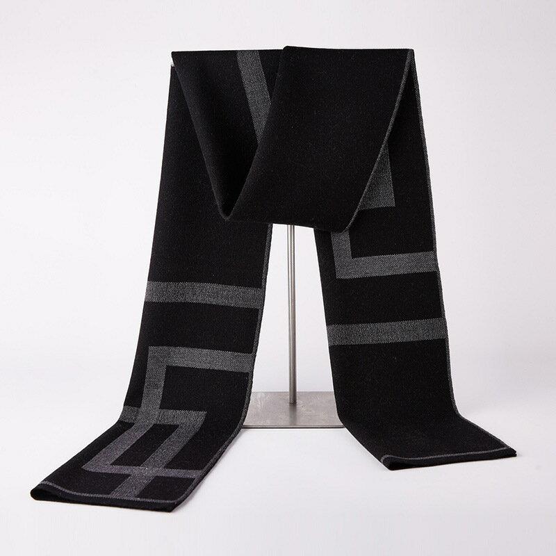 圍巾針織披肩-幾何方框加厚羊毛男配件3色73wi82【獨家進口】【米蘭精品】