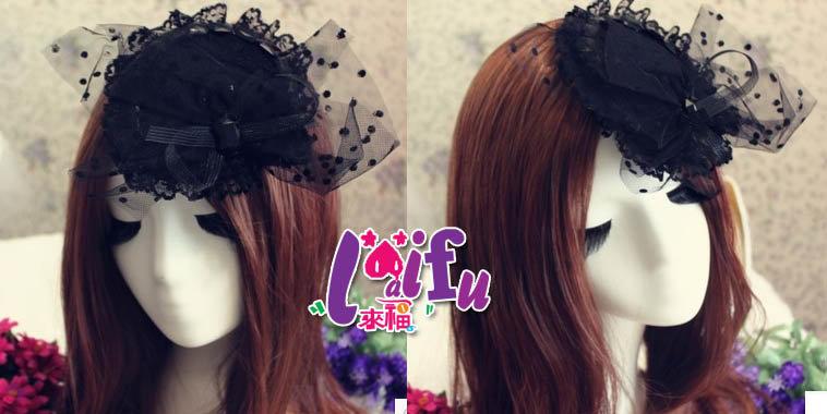 ~草魚妹~k480演出舞台拍照派對黑色面纱禮帽髮夾髮飾,售價280元