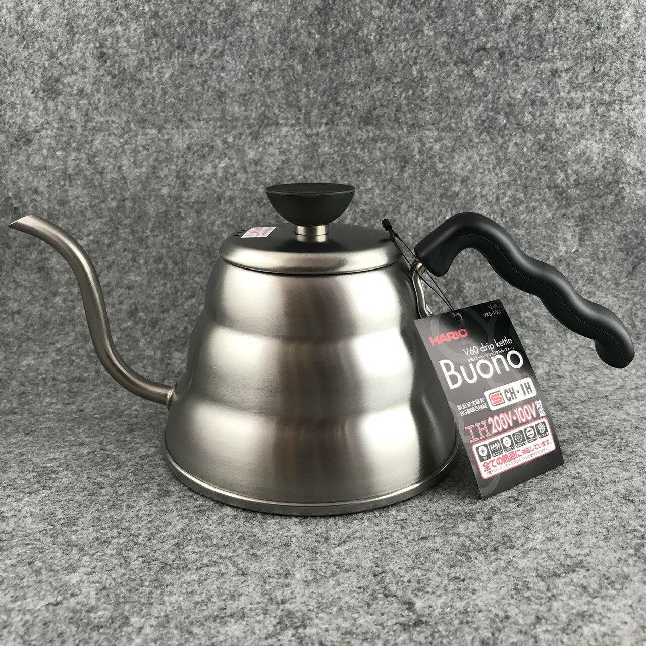 【沐湛咖啡】日本進口Hario 手沖壺-細口壺 VKB-100 不銹鋼材質 BUONO瓦斯爐電磁爐均可使用