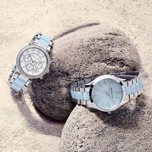 美國Outlet 正品代購 Michael Kors MK 三環 淺藍精鋼 滿鑽 手錶 腕錶 MK6138 6