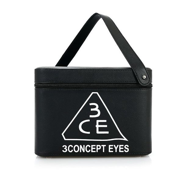 3CE化妝包 - 3CONCEPT EYES 大容量防水專業雙層手提化妝包化妝箱 附鏡子【AN SHOP】