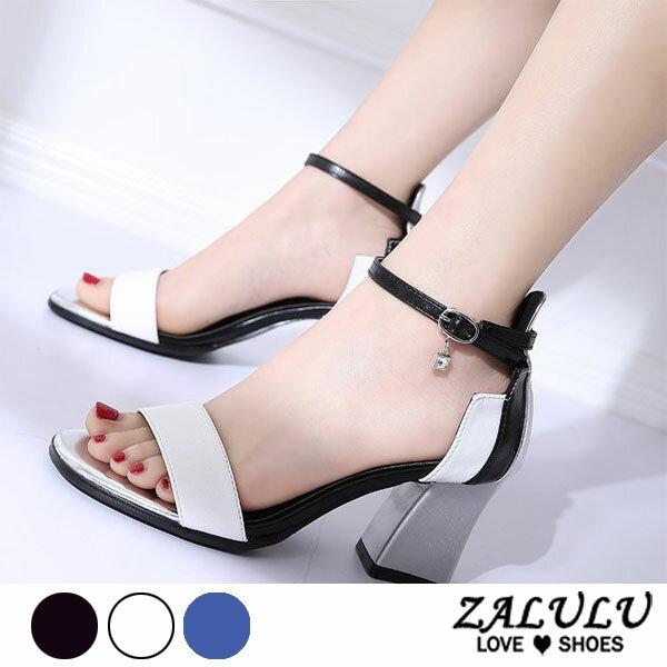 ZALULU愛鞋館7DE208預購小性感雙色配復古粗跟涼鞋-黑白藍-35-39