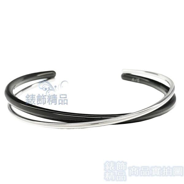 【錶飾精品】CK飾品KJ8XBF2003CalvinKleinC形交叉固定式黑銀色女性手環316L白鋼