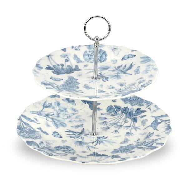 英國Portmeirion植物藍兩層蛋糕盤