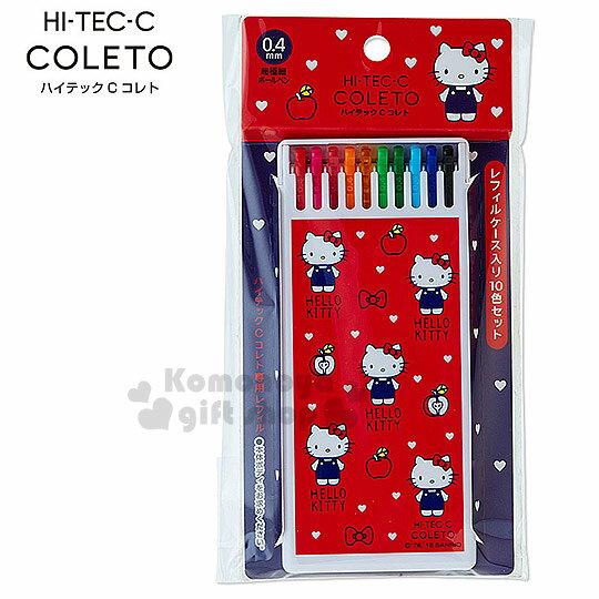 〔小禮堂〕Hello Kitty 極細替換筆芯~紅.站姿.白色愛心.共10色.4mm 筆芯