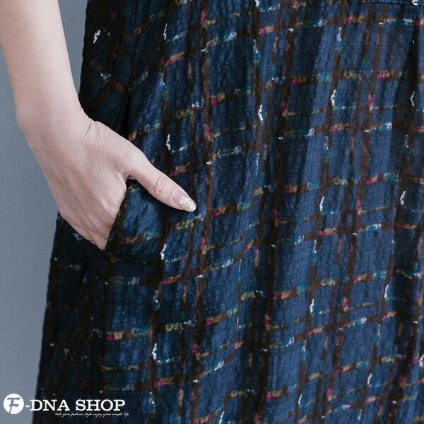 加大尺碼★F-DNA★格紋開扣立領長版短袖洋裝(藏青-L-XL)【HG22011】 5