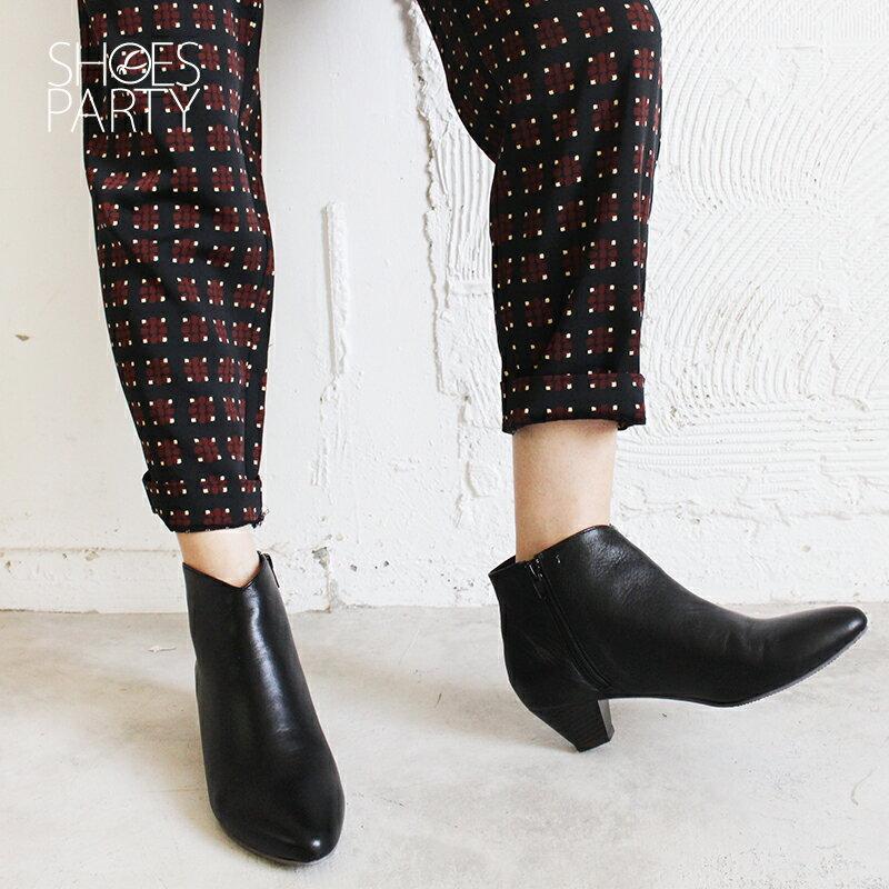 【B2-18115L】羊皮素面安定低跟短靴_Shoes Party 2