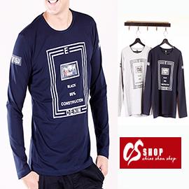 CS衣舖 彈力伸縮 造形圖案 個性圓領 長袖T恤 8816