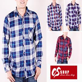 CS衣舖 加厚 內刷毛 保暖 美式經典格紋 舒適純棉 長袖襯衫 0211