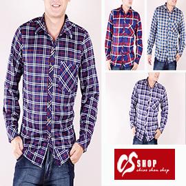 CS衣舖 加厚 內刷毛 保暖 美式經典格紋 舒適純棉 長袖襯衫 0212