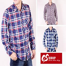 CS衣舖 加厚 內刷毛 保暖 美式經典格紋 舒適純棉 長袖襯衫 0213