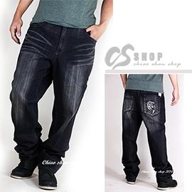 【CS衣舖.1388】台灣製造 40-48腰大尺碼腰大尺碼 單寧自然刷色 彈性中直筒牛仔褲