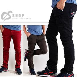【CS衣舖.6965】潮男必備百搭色褲! 素面貼身 純色窄版 彈性材質 小直筒褲 M-3L