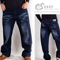 【【CS衣舖 】7014】40-46腰大尺碼 貓抓刷色 彈性中直筒牛仔褲 0