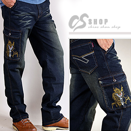 【CS衣舖.7025】側口袋 日系刺繡 中直筒 伸縮牛仔褲 工作褲 M-5L