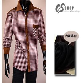 【CS衣舖.308】2-4L大尺碼!精品格紋襯衫外套 內刷保暖不倒絨布料