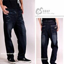 【CS衣舖 】加大尺碼 高磅刷白壓皺中直筒褲42~50腰
