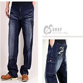 【CS衣舖 】42腰~50腰大尺碼 伸縮中直筒 多口袋牛仔褲 dg6451