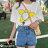 F-DNA★太陽花印圖長版圓領短袖上衣T恤(白-均碼)【ET12700】 5