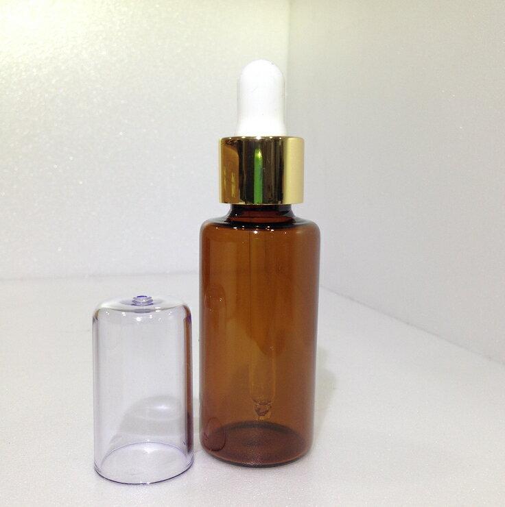 【都易特】滴管瓶 玻璃 30ml 茶色 金環 白色乳膠 含蓋 台製 空瓶