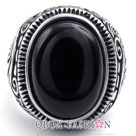 《 QBOX 》FASHION 飾品【W10023317】精緻個性雲紋黑鋯石鑄造316L鈦鋼戒指/戒環