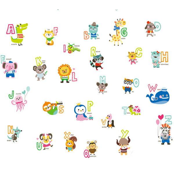 BO雜貨【YV1463-1】新款壁貼無痕創意壁貼居家裝飾牆貼磁磚貼動物英文卡通字母ABC1054