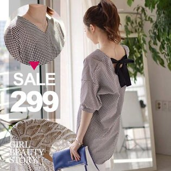 SiSi Girl:SISI【L6063】甜美V領背蝴蝶結綁帶寬鬆短袖格紋襯衫上衣
