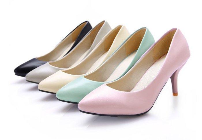 Pyf ~ 款 百搭素色皮面 低跟工作鞋 超大碼 46 大 女鞋