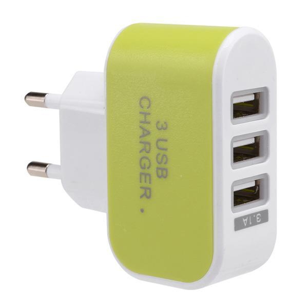 3-Port USB Wall Home Travel AC Charger Adapter for Phone 4