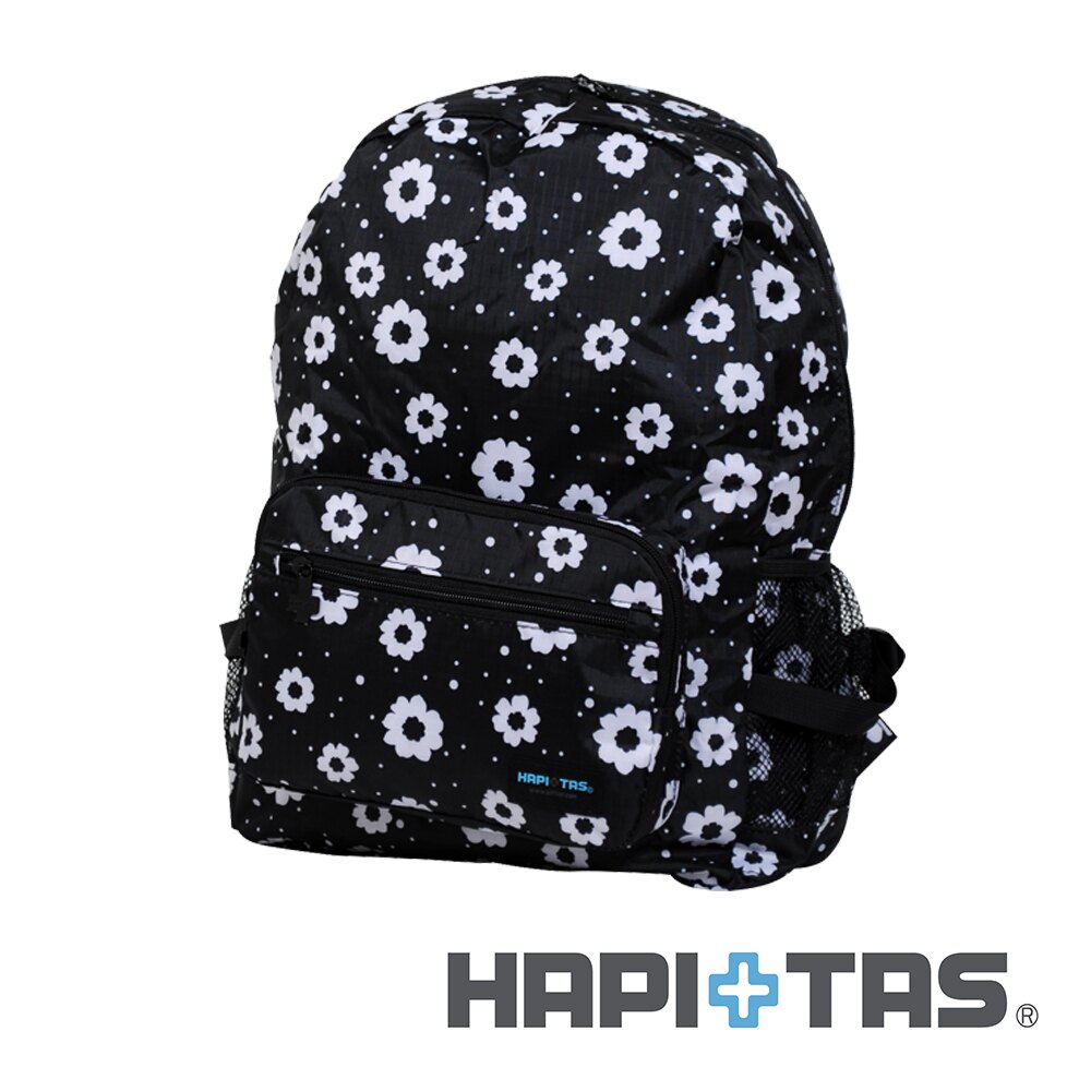 【日本暢銷 HAPI+TAS】摩登花朵黑  摺疊後背包 防潑水 收納方便 折疊小  (可登機 旅行 搭配拉桿)