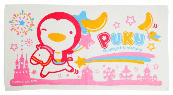 PUKU藍色企鵝 - 長方浴巾 (水藍/粉紅) 3