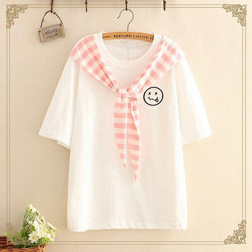 海軍風繫帶笑臉刺繡短袖T恤(3色F碼)【OREAD】 0