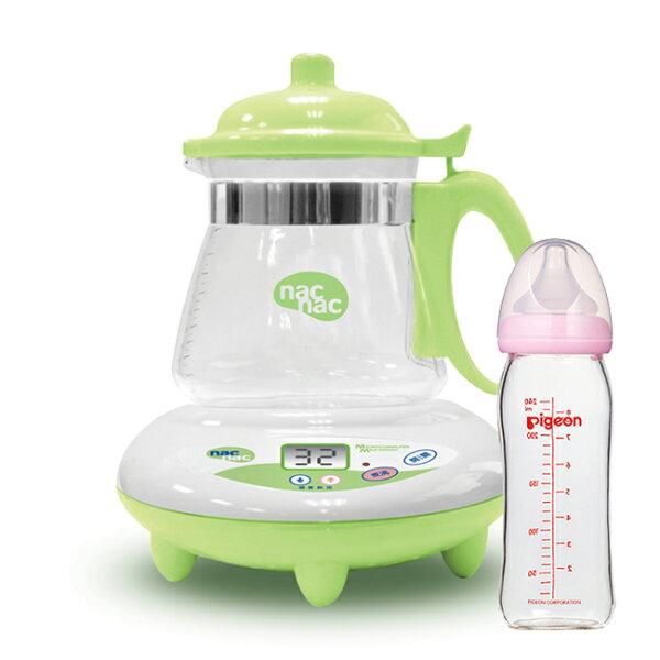 【奇買親子購物網】NacNac微電腦調乳器TM-602器+貝親PIGEON寬口母乳實感玻璃奶瓶240ml(粉白)