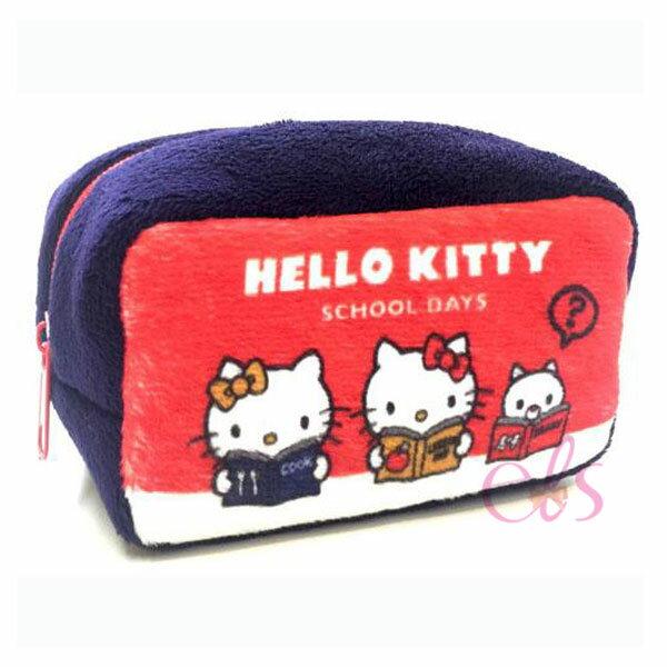艾莉莎ELS:日本凱蒂貓HELLOKITTY絨毛零錢包深藍☆艾莉莎ELS☆