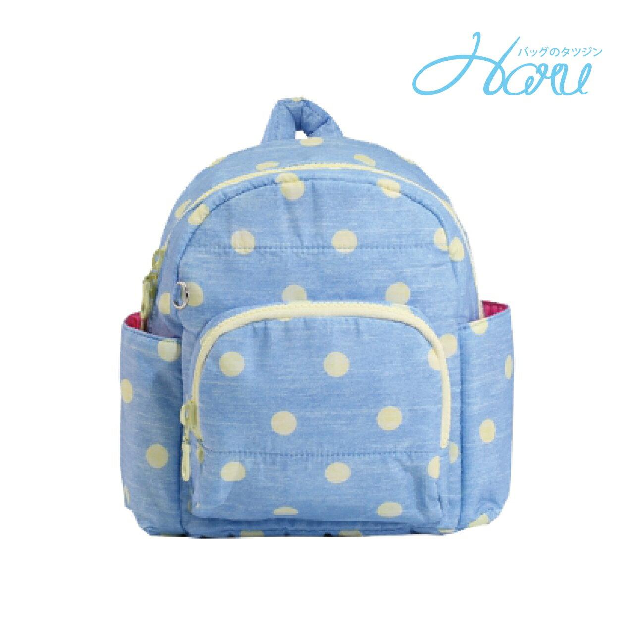 HARU 小晴天本舖媽媽包 日本布料  小童背包【丹寧鵝黃點】