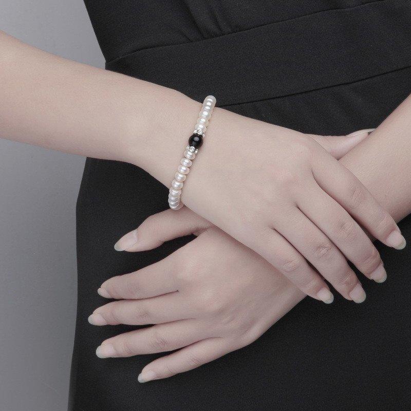 黑瑪瑙珍珠手鏈 時尚母親節節特惠 送媽媽