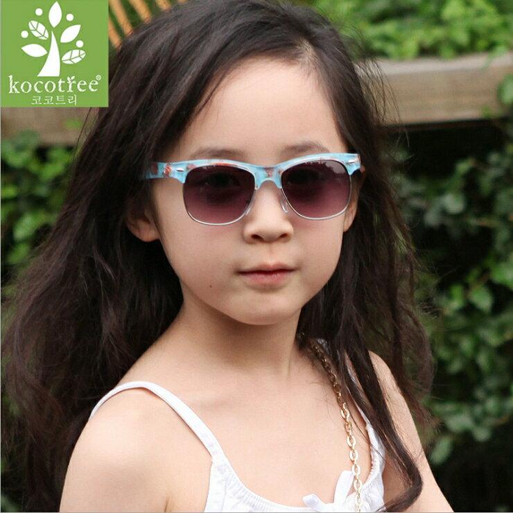 Kocotree◆時尚琉璃玫瑰花朵鏡框兒童太陽眼鏡-藍色
